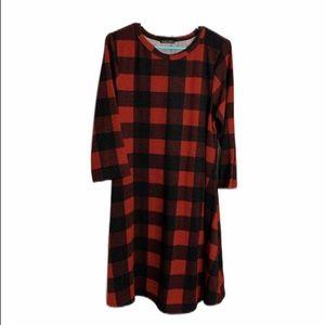 Sweet claire red buffalo plaid XL dress
